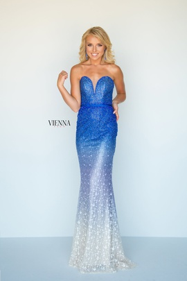 Style 8513 Vienna Blue Size 8 Sweetheart Tall Height Mermaid Dress on Queenly