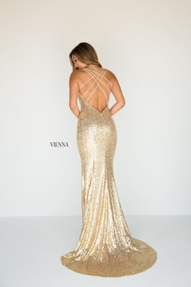 Style 8808 Vienna Gold Size 4 Plunge Side slit Dress on Queenly