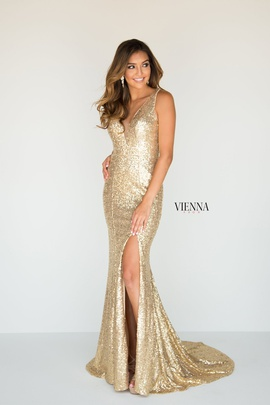 Queenly size 12 Vienna Gold Side slit evening gown/formal dress