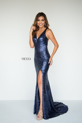 Style 8808 Vienna Blue Size 14 Backless Tall Height Side slit Dress on Queenly