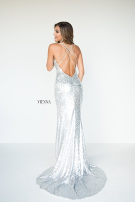 Style 8808 Vienna Silver Size 6 Pageant Backless Tall Height Side slit Dress on Queenly