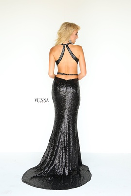 Style 8809 Vienna Black Size 12 Halter Backless Tall Height Mermaid Dress on Queenly