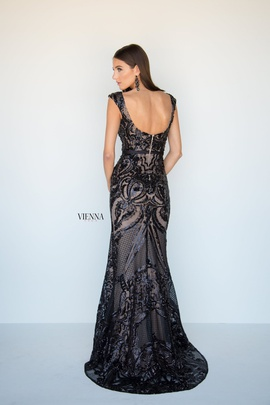 Style 8810 Vienna Black Size 4 Tall Height Lace Mermaid Dress on Queenly