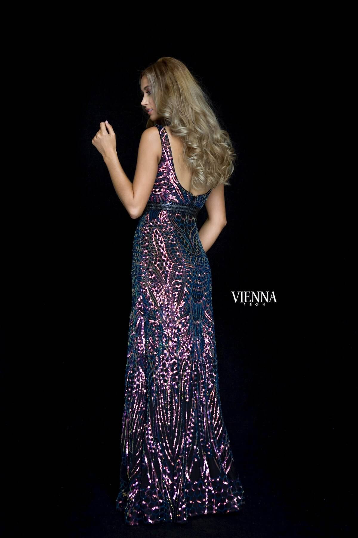 Style 8820 Vienna Multicolor Size 2 Backless Tall Height Mermaid Dress on Queenly