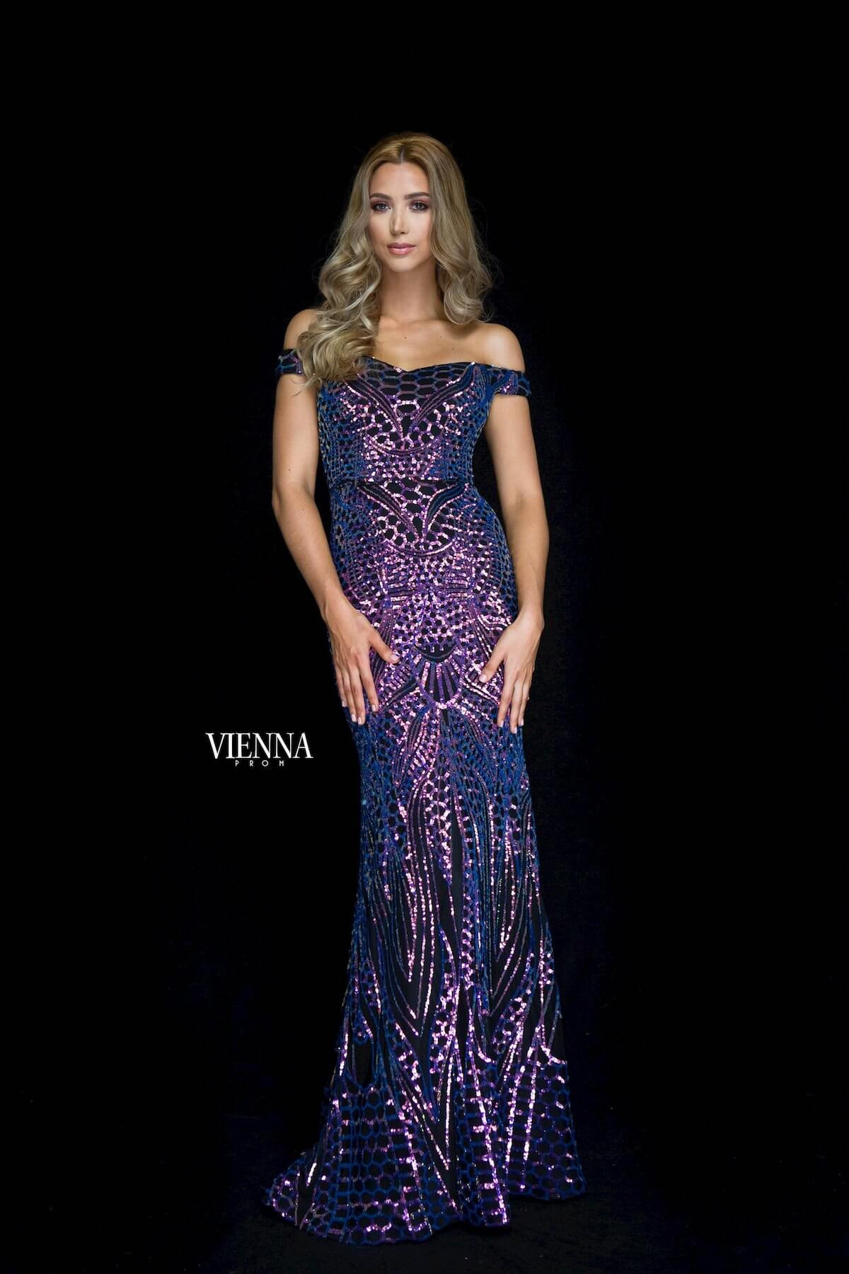 Style 8821 Vienna Purple Size 00 Multicolor Straight Dress on Queenly