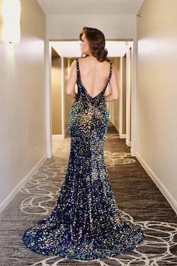 Style 8836 Vienna Multicolor Size 2 Pageant Backless Tall Height Mermaid Dress on Queenly