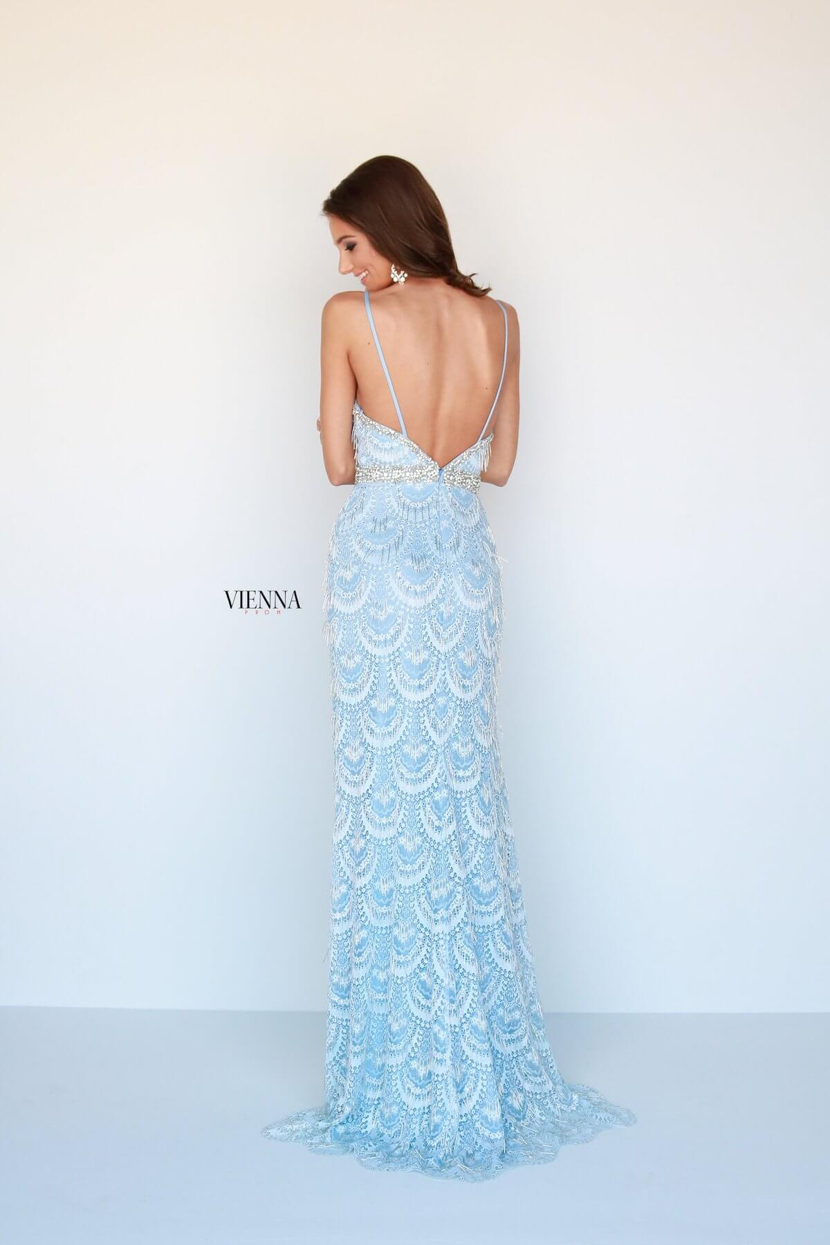 Style 9957 Vienna Blue Size 4 Backless Tall Height Straight Dress on Queenly