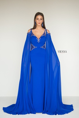 Style 9962 Vienna Blue Size 8 Backless Tall Height Straight Dress on Queenly