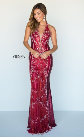 Style 9963 Vienna Red Size 00 Burgundy Plunge Straight Dress on Queenly