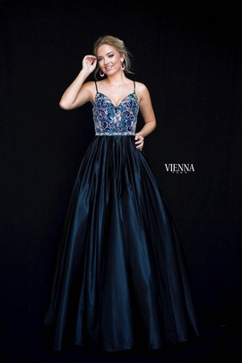 Style 9983 Vienna Black Size 6 Pageant Backless Tall Height Ball gown on Queenly