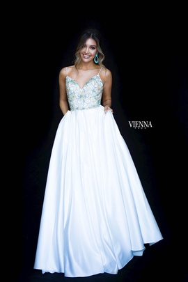 Style 9983 Vienna White Size 4 Plunge Backless Ball gown on Queenly