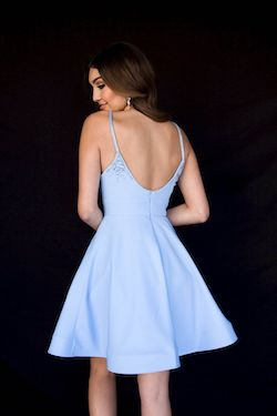 Style 6117 Vienna Blue Size 4 Backless Cocktail Dress on Queenly
