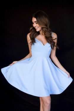 Style 6117 Vienna Blue Size 8 Sweetheart Interview Cocktail Dress on Queenly