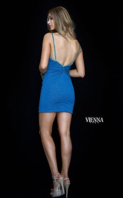 Style 6121 Vienna Blue Size 10 Mini Plunge Cocktail Dress on Queenly