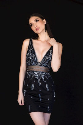 Style 6131 Vienna Black Size 8 Mini Plunge Cocktail Dress on Queenly