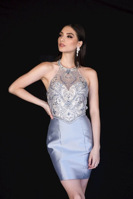 Style 6136 Vienna Silver Size 10 Halter Backless Cocktail Dress on Queenly