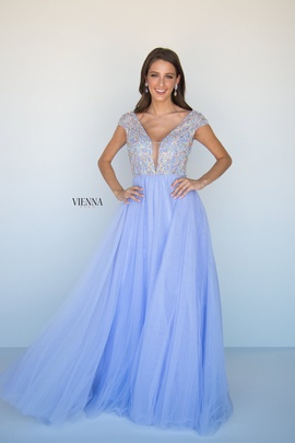 Style 9955 Vienna Blue Size 4 Tulle Tall Height Straight Dress on Queenly