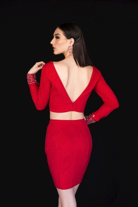Style 6127 Vienna Red Size 00 Mini Two Piece Plunge Cocktail Dress on Queenly