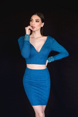 Style 6127 Vienna Blue Size 2 Mini Two Piece Plunge Cocktail Dress on Queenly