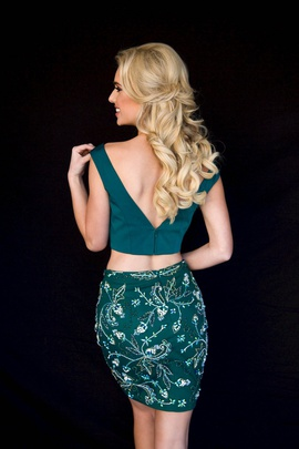 Style 6151 Vienna Green Size 14 Two Piece Backless Emerald Cocktail Dress on Queenly
