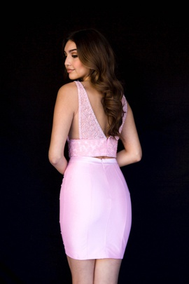 Style 6152 Vienna Light Pink Size 0 Two Piece Plunge Cocktail Dress on Queenly
