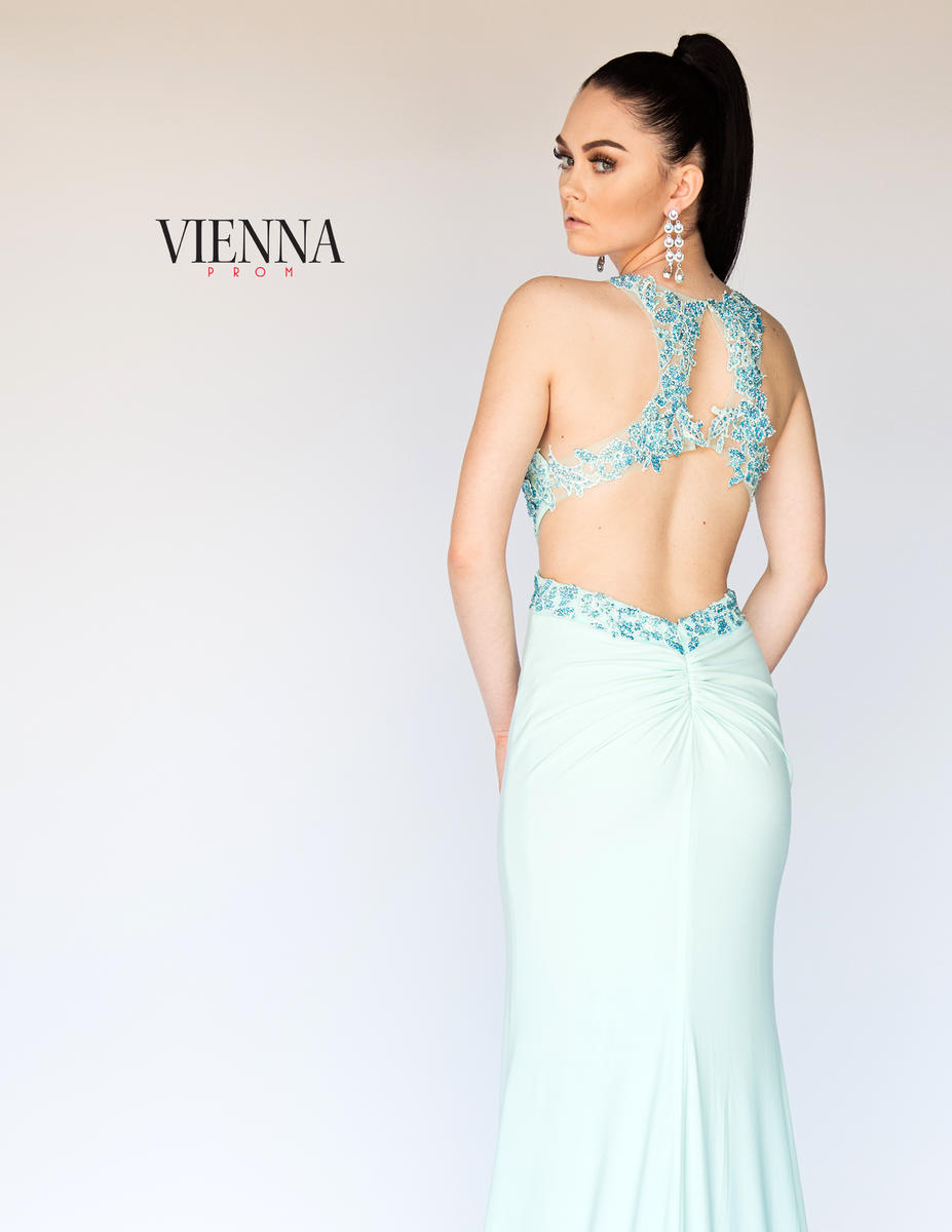 Style 8406 Vienna Blue Size 12 Backless Tall Height Train Dress on Queenly
