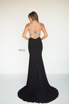 Style 8427 Vienna Black Size 2 Jewelled Tall Height Side slit Dress on Queenly