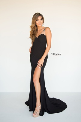 Style 8427 Vienna Black Size 6 Jewelled Tall Height Side slit Dress on Queenly