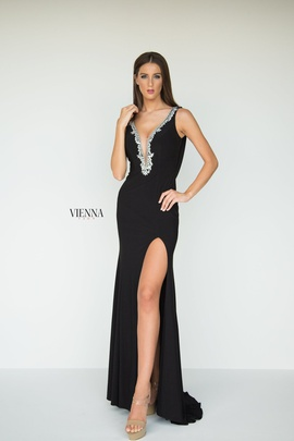 Style 8440 Vienna Black Size 2 Backless Tall Height Side slit Dress on Queenly