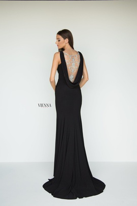 Style 8440 Vienna Black Size 4 Backless Tall Height Side slit Dress on Queenly