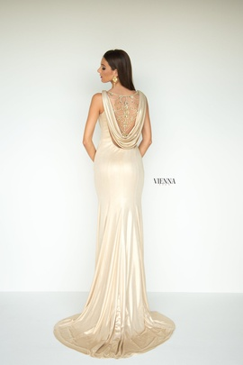 Style 8440 Vienna Gold Size 16 Plunge Plus Size Side slit Dress on Queenly