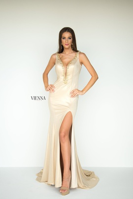Queenly size 16 Vienna Gold Side slit evening gown/formal dress