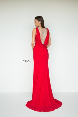 Style 8440 Vienna Red Size 6 Backless Tall Height Side slit Dress on Queenly