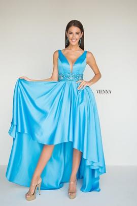 Style 8604 Vienna Blue Size 10 Belt Plunge A-line Dress on Queenly