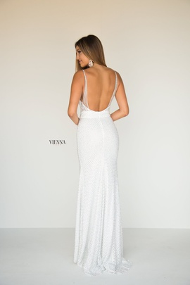 Style 8902 Vienna White Size 2 Backless Tall Height Side slit Dress on Queenly