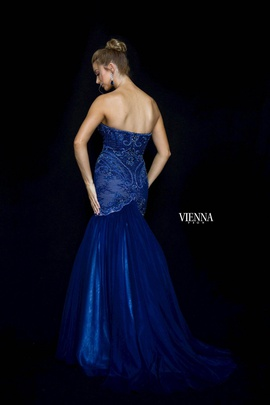 Style 82005 Vienna Blue Size 10 Tulle Sweetheart Tall Height Mermaid Dress on Queenly