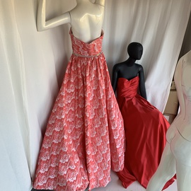 Jovani Red Size 6 Overskirt Strapless Mermaid Dress on Queenly