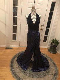 Terani Couture Blue Size 8 Halter Backless Tall Height Side slit Dress on Queenly