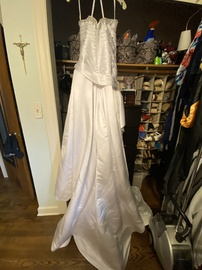 Moonlight White Size 14 Plus Size Jewelled Strapless Sequin Mermaid Dress on Queenly