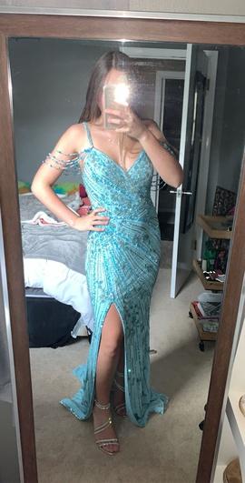 Sherri Hill Blue Size 2 Train Plunge Side slit Dress on Queenly