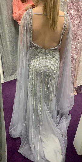 Clarisse Silver Size 10 Cape Sheer Plunge Mermaid Dress on Queenly