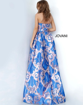 Jovani Blue Size 8 Train Ball gown on Queenly