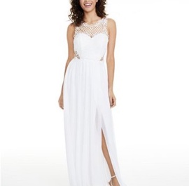 White Size 14 Side slit Dress on Queenly