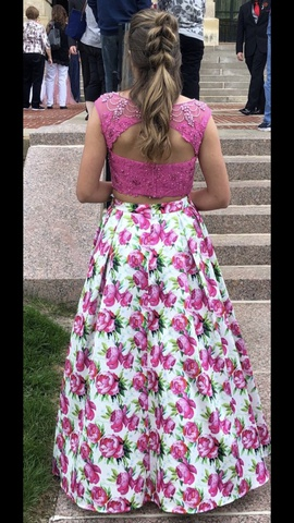 Ellie Wilde Pink Size 6 Prom Floral A-line Dress on Queenly