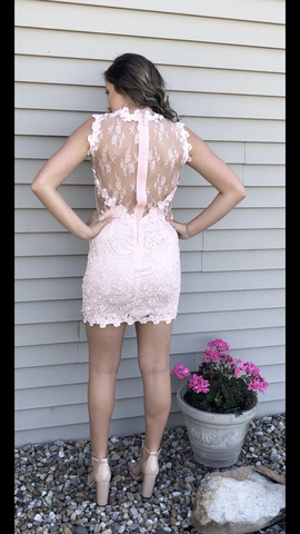 Soiblu Light Pink Size 6 Homecoming Mini Lace Straight Dress on Queenly