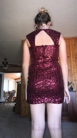 Haute nites Red Size 6 Homecoming Cap Sleeve Mini Shiny Straight Dress on Queenly