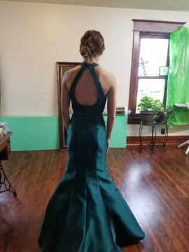 Alyce Paris Green Size 0 Halter Backless Mermaid Dress on Queenly
