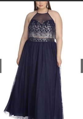 Queenly size 20  Blue A-line evening gown/formal dress