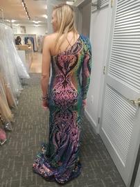 Jovani Multicolor Size 2 Sleeves One Shoulder Mermaid Dress on Queenly