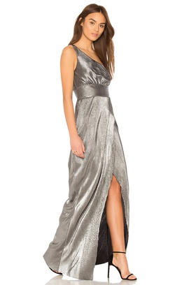 Style YD550 2167LY Likely Silver Size 12 Black One Shoulder Jersey Straight Prom Side slit Dress on Queenly
